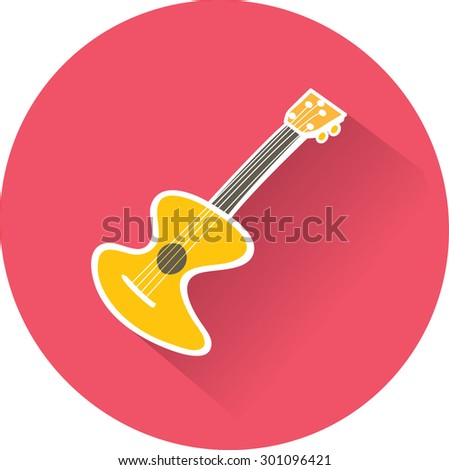 Guitar sign. Flat Vector Icon - stock vector