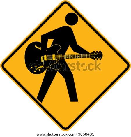 Guitar sign with acoustic-electric guitar - stock vector