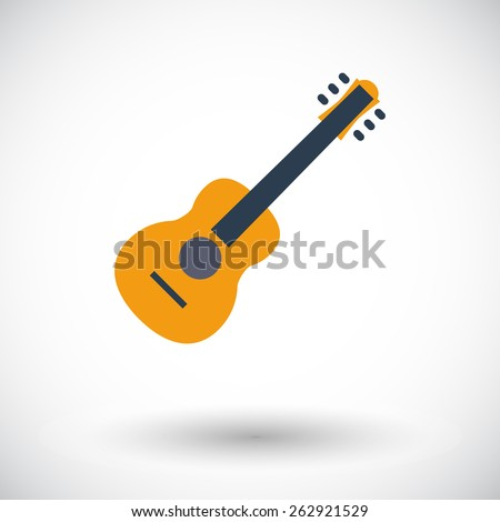 Guitar. Single flat icon on white background. Vector illustration. - stock vector