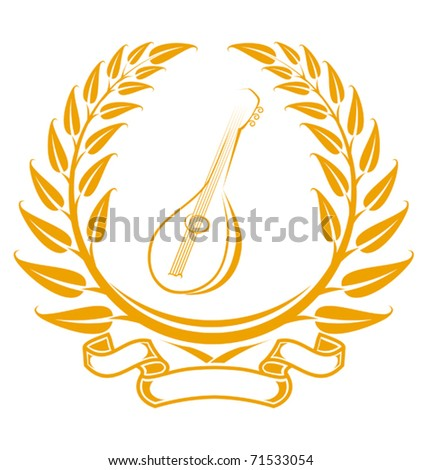 Guitar symbol in laurel wreath isolated on white - also as emblem. Jpeg version also available in gallery - stock vector