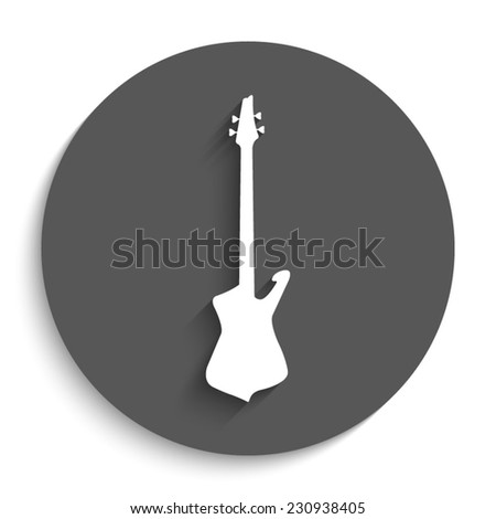 Guitar - vector icon with shadow on a round grey button