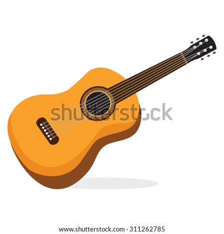 Guitar. Vector illustration of a guitar isolated on white. - stock vector