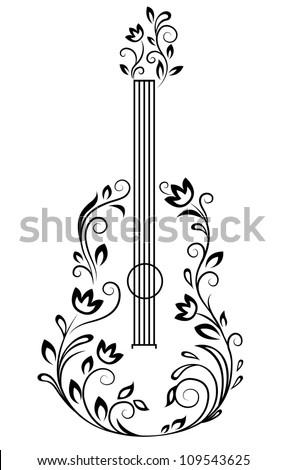Guitar with floral details for entertainment design. Jpeg version also available in gallery - stock vector