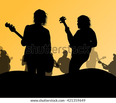 Guitarist band on stage vector background illustration - stock vector