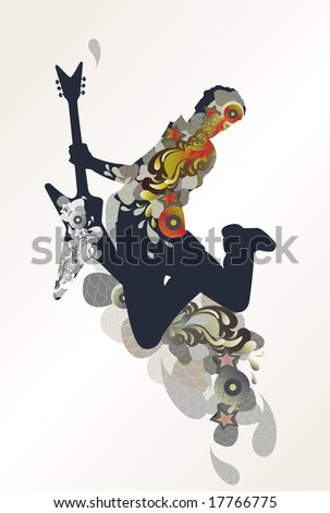 guitarist - decorative music background - stock vector