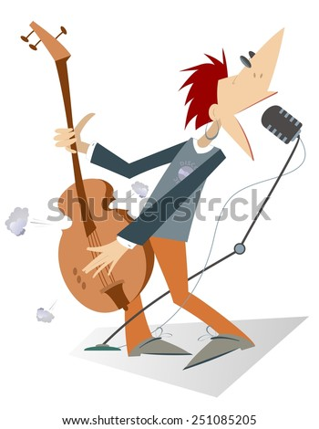 Guitarist is playing music with inspiration - stock vector