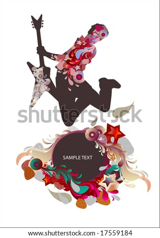 guitarist - music background - stock vector