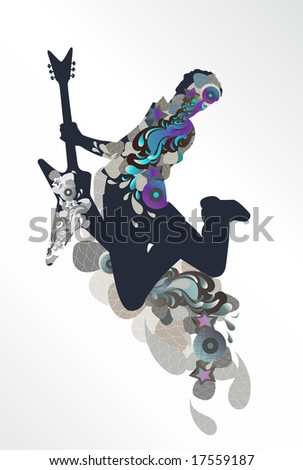 guitarist - music background - blue - stock vector
