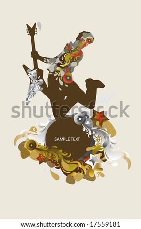 guitarist - music background - medallion - stock vector