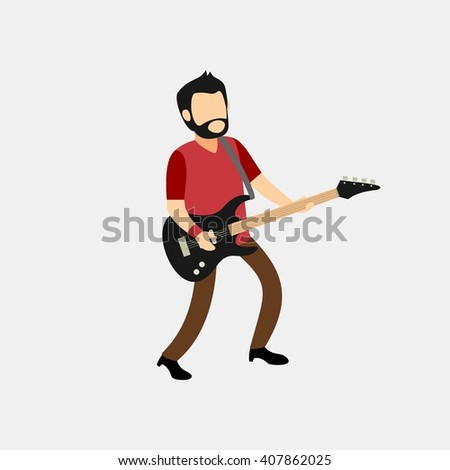 guitarist musician character playing a beautiful instrumental song - stock vector