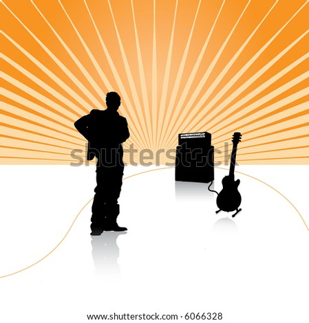 guitarist on the stage - stock vector