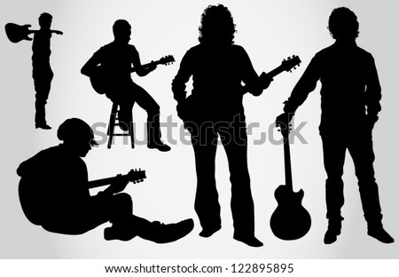 Guitarist silhouettes - stock vector
