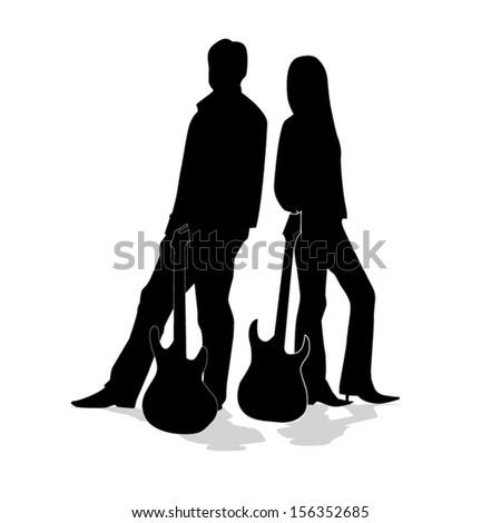 Guitarist silhouettes - stock vector