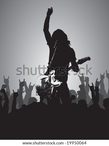 guitarist solo with crowd vector can be resized and recolored easily. - stock vector