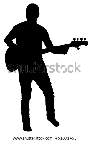 Guitarist vector silhouette illustration isolated on white background. Popular music super star on stage.