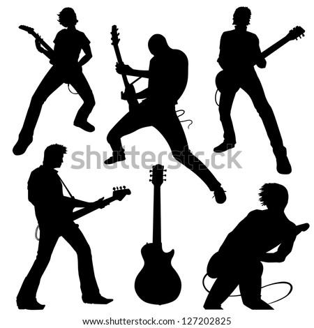 guitarists in silhouette - stock vector