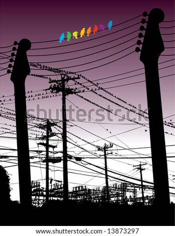 Guitars as telephone poles with birds