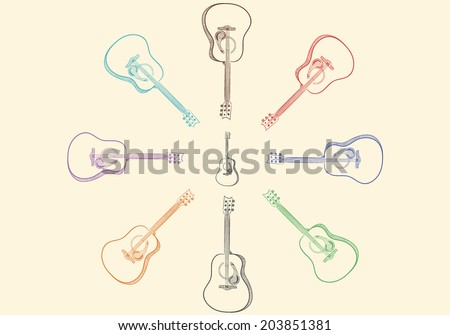 Guitars different color located round one on a brown background - stock vector