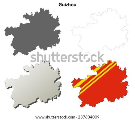 Guizhou blank outline map set - stock vector