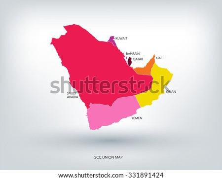 gulf countries new colorful map vector