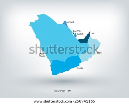 GULF COUNTRIES NEW MAP, VECTOR - stock vector