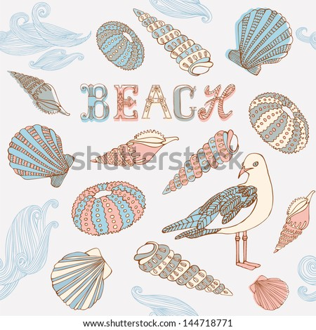 Gull and shells on the beach. Vector illustration. - stock vector
