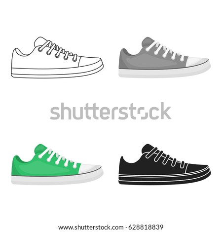 Gumshoes icon in cartoon style isolated on white background. Shoes symbol stock vector illustration.