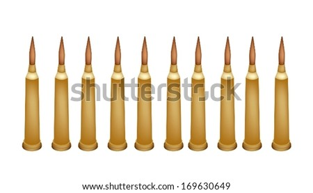 Gun Accessory, An Illustration Collection of Ten Rifle Bullets or Ammunition for Rifle and Machine Gun Isolated on White Background