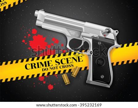 gun and crime - stock vector