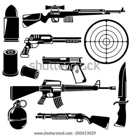 gun and weapon set - stock vector