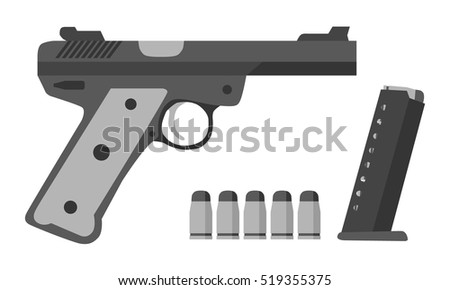 Gun, bullets, clip in flat style. Military, police, army equipment.