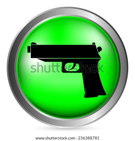 Gun button on white background. Vector illustration. - stock vector