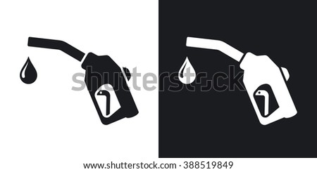 Gun for fuel pump with a drop of fuel, vector icon. Two-tone version on black and white background - stock vector