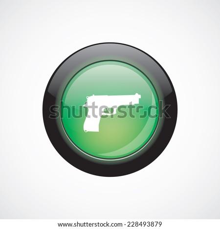 gun glass sign icon green shiny button. ui website button   - stock vector