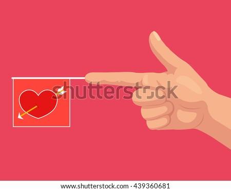 Gun hand gesture with bang love flag with heart. Vector flat cartoon illustration - stock vector