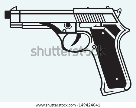Gun icon isolated on blue background - stock vector