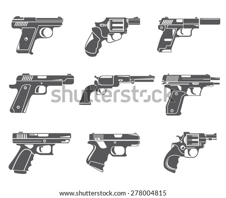 gun icons, handgun, pistol set - stock vector