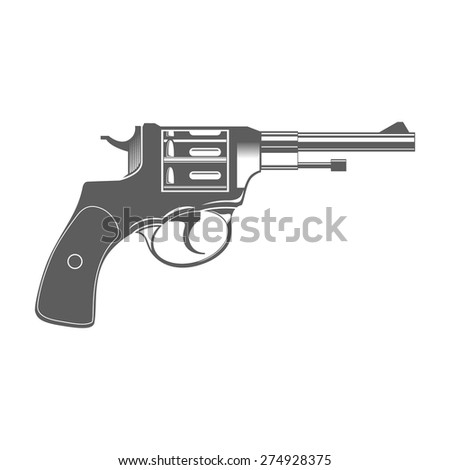 Gun Isolated on White Design Elements Vector Illustration - stock vector