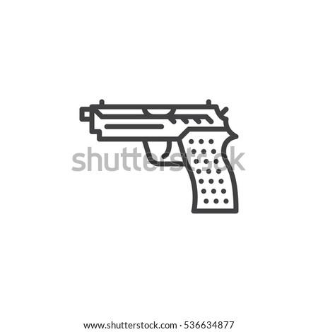 Gun Pistol Line Icon Outline Vector Stock Vector 536634877