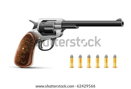 gun revolver with bullet vector illustration isolated on white background - stock vector