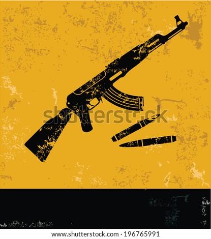 Gun symbol,grunge vector - stock vector