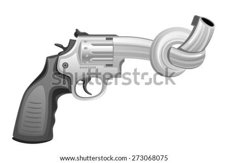 Gun tied in knot - stock vector