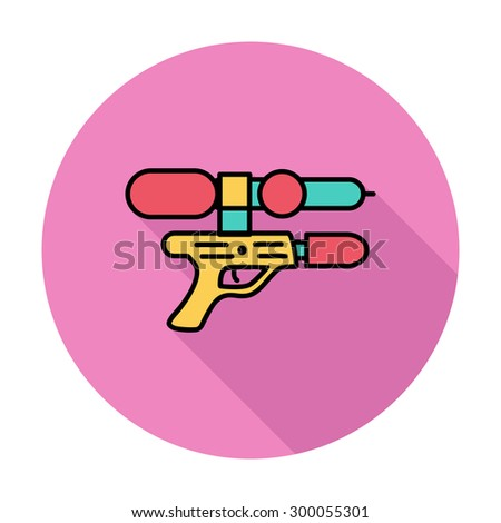 Gun toy icon. Flat vector related icon whit long shadow for web and mobile applications. It can be used as - logo, pictogram, icon, infographic element. Vector Illustration.  - stock vector