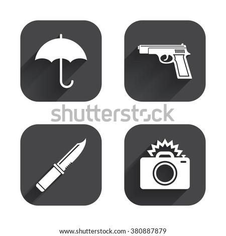 Gun weapon icon.Knife, umbrella and photo camera with flash signs. Edged hunting equipment. Prohibition objects. Square flat buttons with long shadow. - stock vector