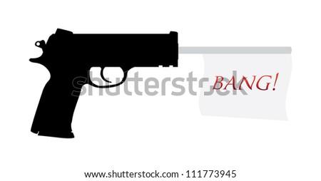 gun with bang flag illustration - stock vector