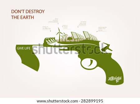 Gun with wind-powered electricity solar panels. THE CONCEPT OF ECOLOGY - stock vector