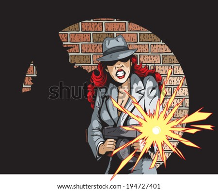 Gunning Gangster Gal - stock vector