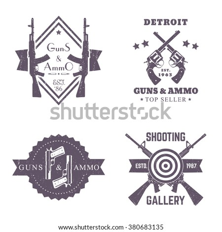 guns and ammo, vintage logos set, badges with automatic rifles, crossed revolvers, two pistols, shooting gallery logo, sign with assault rifles on white - stock vector