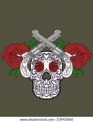 guns and roses tattoo - stock vector