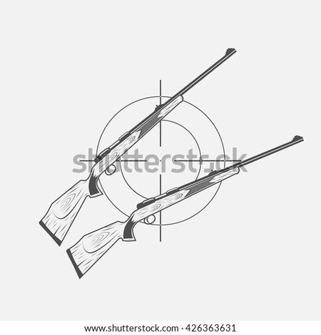 guns and target rifle - stock vector